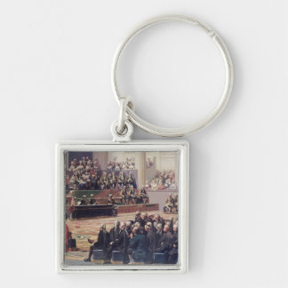 Opening of the Estates General at Versailles Silver-Colored Square Key Ring