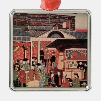 Opening of the First Railway in Japan Silver-Colored Square Decoration