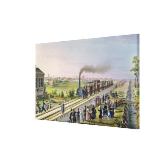 Opening of the First Railway Line Canvas Print