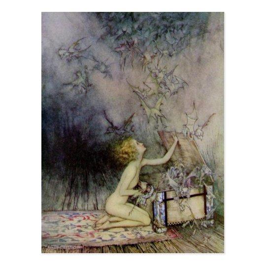 Opening Pandora's Box Vintage Art Post Card