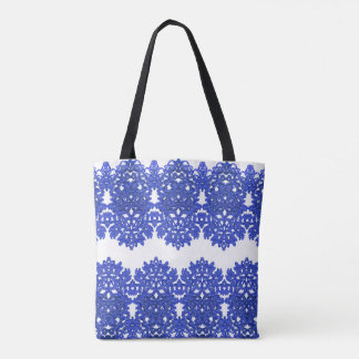Openwork pattern in the style blue-chinoiserie tote bag