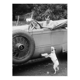 Opera Singer with her Dog, 1920s Postcard