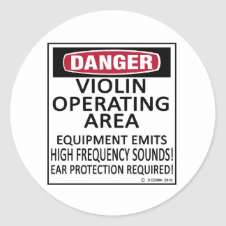 Operating Area Violin Classic Round Sticker