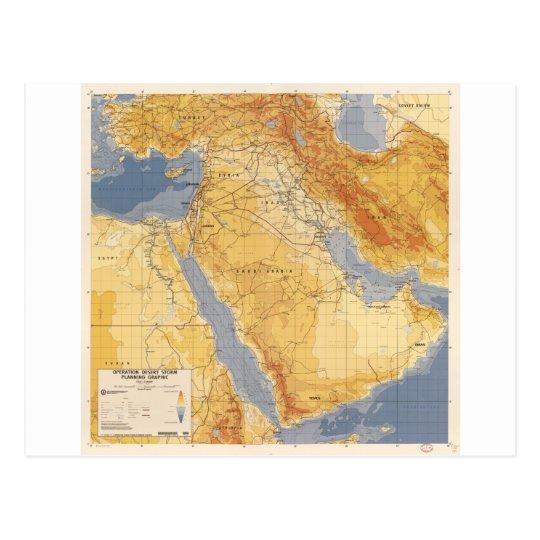 Operation Desert Storm Planning Map (1991) Postcard