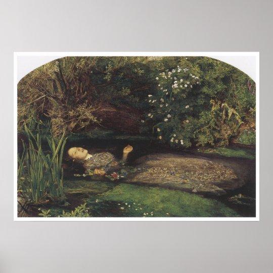 Ophelia, 1852, John Everett Millais Poster