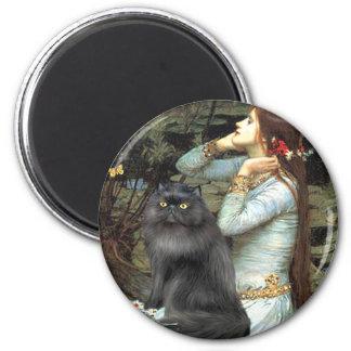 Ophelia - black Persian cat 6 Cm Round Magnet