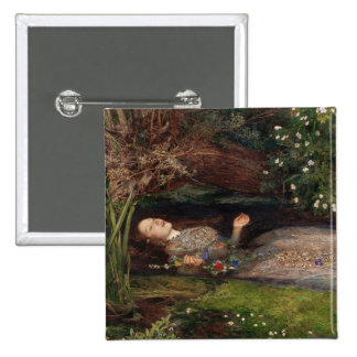Ophelia by John Everett Millais 15 Cm Square Badge
