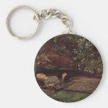 Ophelia by John Everett Millais Basic Round Button Key Ring