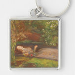 Ophelia by Millais Vintage Victorian Preraphaelite Silver-Colored Square Key Ring