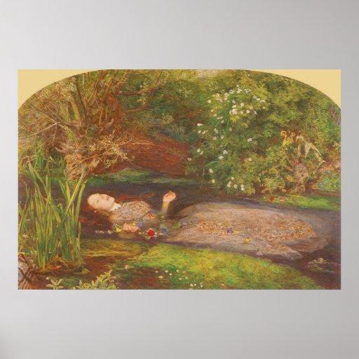 Ophelia by Millais Vintage Victorian Preraphaelite Posters