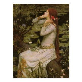 Ophelia By the Pond JW Waterhouse Victorian Art Post Cards