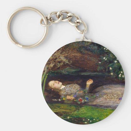 Ophelia, John Everett Millais Basic Round Button Key Ring