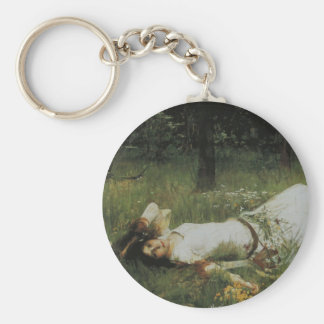 Ophelia [John William Waterhouse] Basic Round Button Key Ring