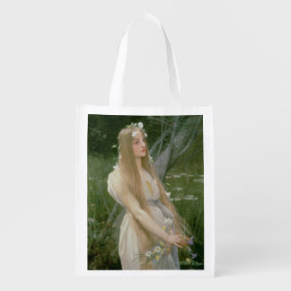 Ophelia (oil on canvas) reusable grocery bags