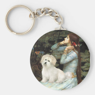 Ophelia Seated - Coton de Tulear 7 Basic Round Button Key Ring