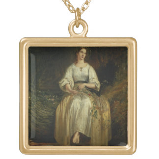Ophelia weaving her garlands, 1842 (oil on panel) personalized necklace