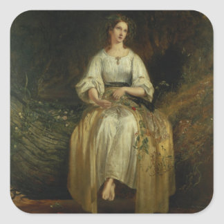 Ophelia weaving her garlands, 1842 (oil on panel) square stickers