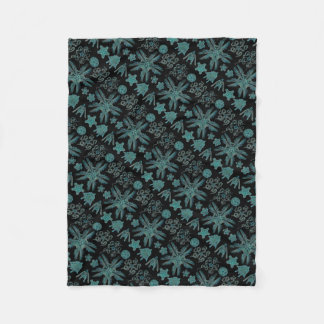 Ophiodea in Turquoise and Black Fleece Blanket