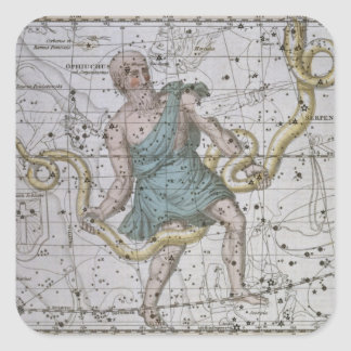 Ophiuchus or Serpentarius, from 'A Celestial Atlas Square Sticker
