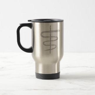 Ophiuchus. Zodiac Sign in Gray. Travel Mug