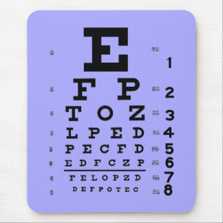 Ophthalmology Optometry Eye Chart Periwinkle Mouse Mat