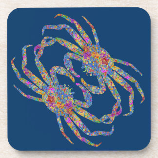 Opilio Crab in Blue With Stars Beverage Coaster
