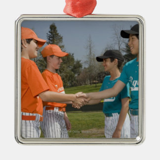 Opponents shaking hands Silver-Colored square decoration