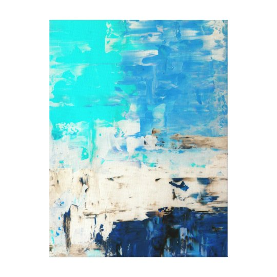 'Opposite' Turquoise Abstract Art Canvas Print