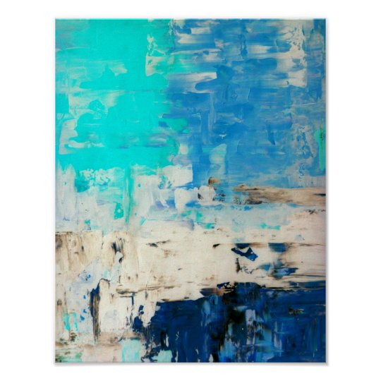 'Opposite' Turquoise Abstract Art Poster