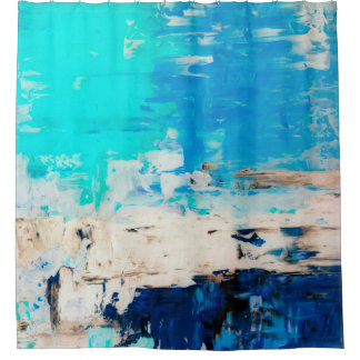 'Opposite' Turquoise Abstract Art Shower Curtain