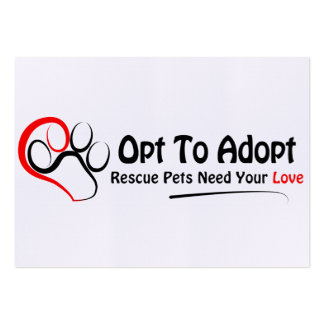 Opt To Adopt Large Business Cards (Pack Of 100)