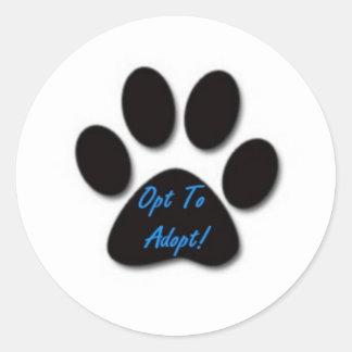 Opt to Adopt Round Sticker