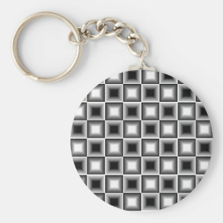 Optical 3D Chessboard Illusion Black White Grey Keychain