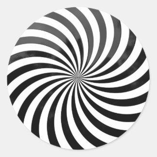 optical deception Black & White Stripes Classic Round Sticker