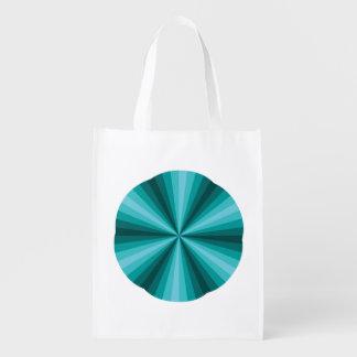 Optical Illusion Aqua Reusable Grocery Bag