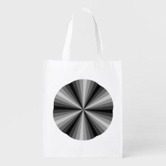 Optical Illusion Black Reusable Grocery Bag