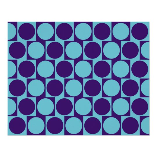 Optical Illusion Cafe Wall Effect Circles Blue Poster