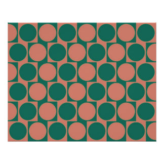 Optical Illusion Cafe Wall Effect Circles Pink Poster