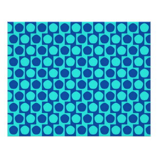 Optical Illusion Cafe Wall Effect Pentagons Blue Poster