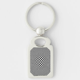 Optical Illusion Checkers Keychain Silver-Colored Rectangle Key Ring