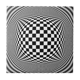 Optical Illusion Checkers Tile