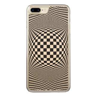 Optical Illusion CheckiPhone 6 Plus Slim Wood Carved iPhone 7 Plus Case