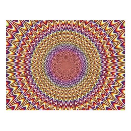Optical Illusion Circle Hypnotic Rainbow Colourful Postcard