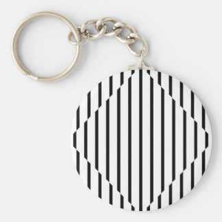 Optical Illusion Diamond Lines Black White Square Basic Round Button Key Ring
