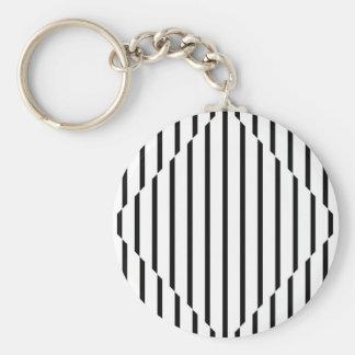 Optical Illusion Diamond Lines Black White Square Key Ring