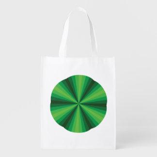 Optical Illusion Green Reusable Grocery Bag