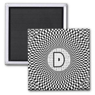 Optical Illusion Monogram D Square Magnet