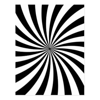 Optical Illusion Moving Black and White Swirl Postcard