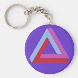 Optical illusion: penrose triangle basic round button key ring