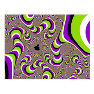 Optical Illusion Purple Green Holographic Hypnotic Postcard